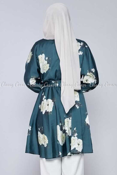 White Rose Print Emerald Green Modest Tunic Dress - back view