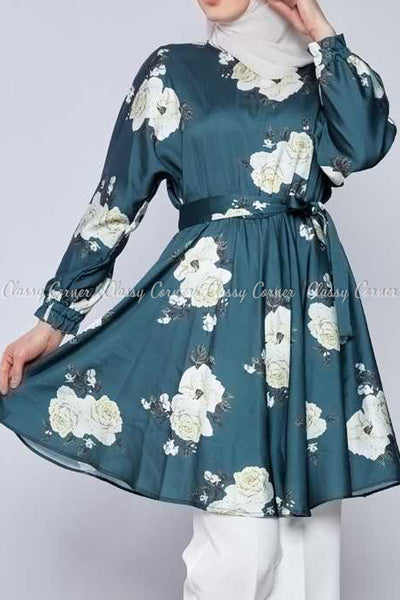 White Rose Print Emerald Green Modest Tunic Dress - front view
