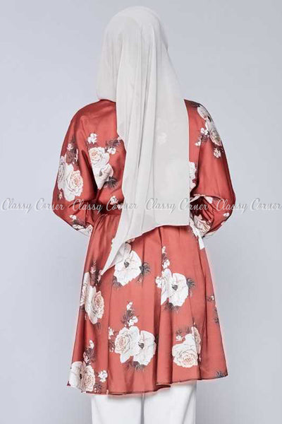 White Rose Print Red Modest Tunic Dress - back view