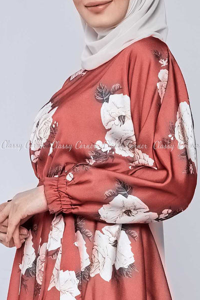 White Rose Print Red Modest Tunic Dress - closer view