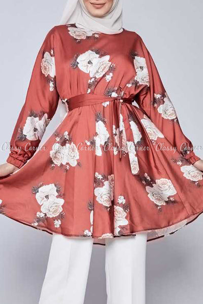White Rose Print Red Modest Tunic Dress - full front view