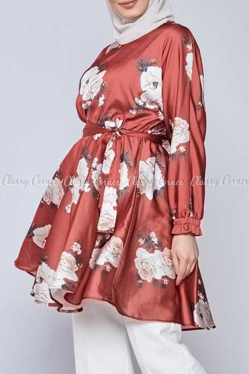 White Rose Print Red Modest Tunic Dress