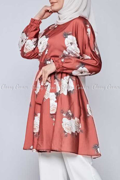 White Rose Print Red Modest Tunic Dress - side view