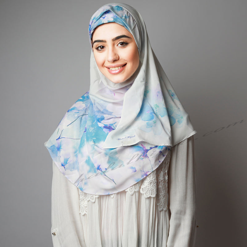 White Blue Royal Cherry Blossom Printed Luxurious Instant Hijab