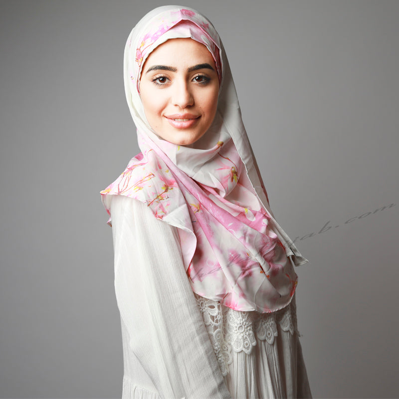 White Light Pink Instant Two Piece Luxury Comfy Hijab