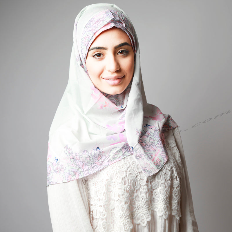 White Pink Print Sophisticated Instant Comfy Hijab