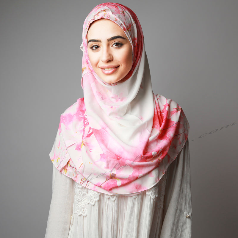 White Pink Floral Print Instant Two-Piece Hijab
