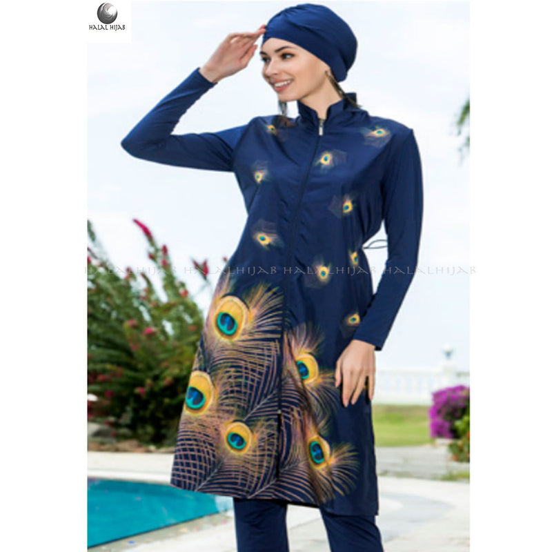 Yellow Peacock Print Navy Swim Wear