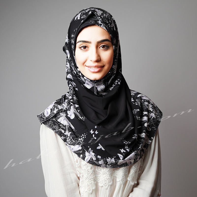 Black Ivory Printed Luxurious Instant Hijab