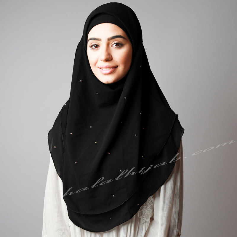 Black Chiffon Crystallised Dotted Pinless Instant Hijab
