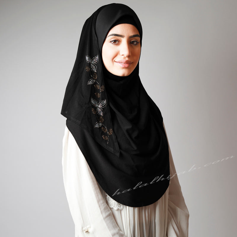 Leafy Floral Crystal Embellished Black Gorgeous Hijab