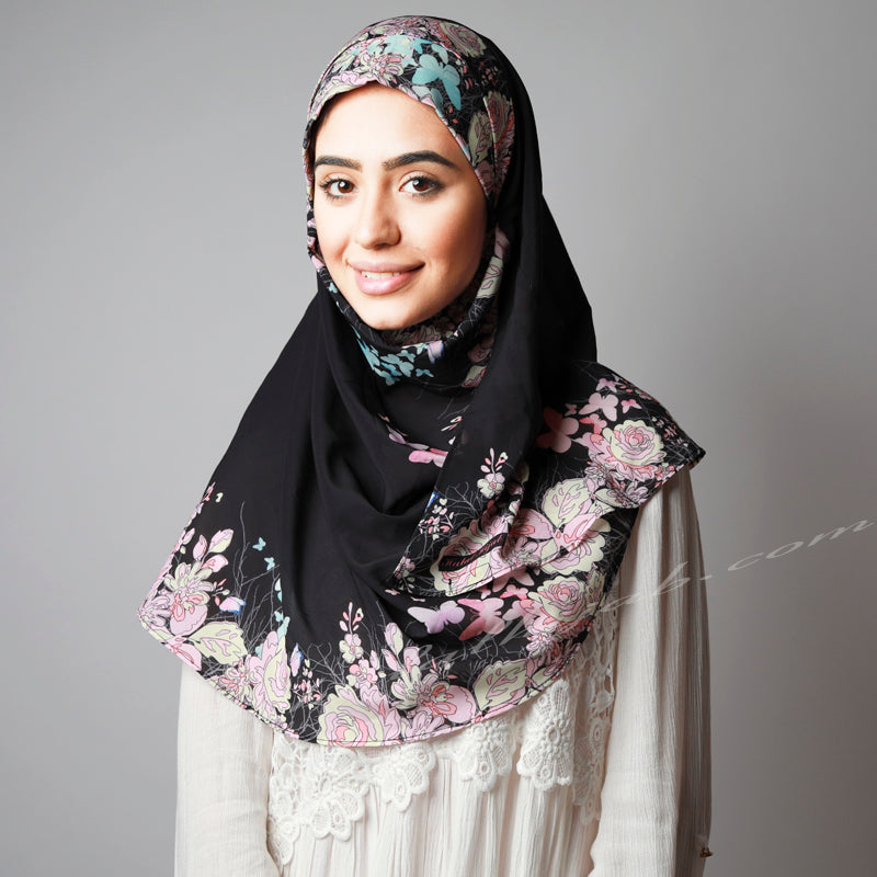 Black Pink Floral Print Elegant Two Piece Instant Hijab