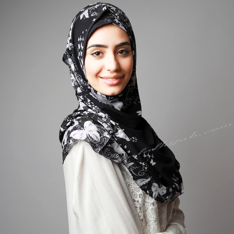 Style, Online, wear, HIjab Australia, HIjab Women, Hijab House, Hijab style, Hijab fashion, How to wear Hijab? Black Ivory printed instant hijab online