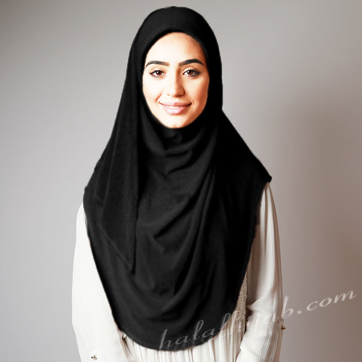 Black Stretchy Pin-Free Instant Plain Hijab