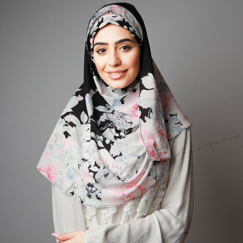 Hijab Women, Hijab House, Hijab style, Hijab fashion, How to wear Hijab? Hijab Australia,Printed Hijab, Haute,Black white floral print Hijab