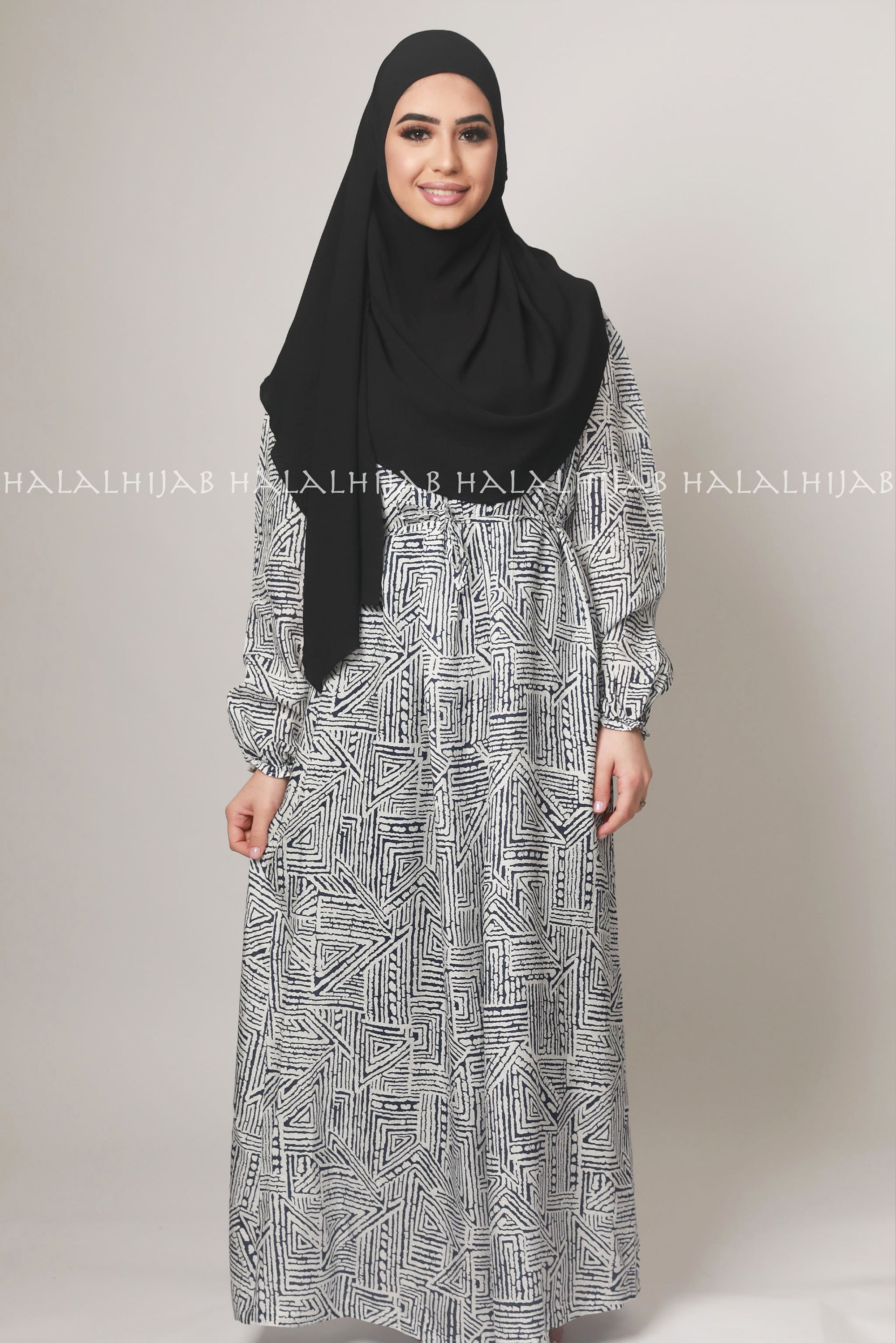 Black White Geometric Print Modest Dress