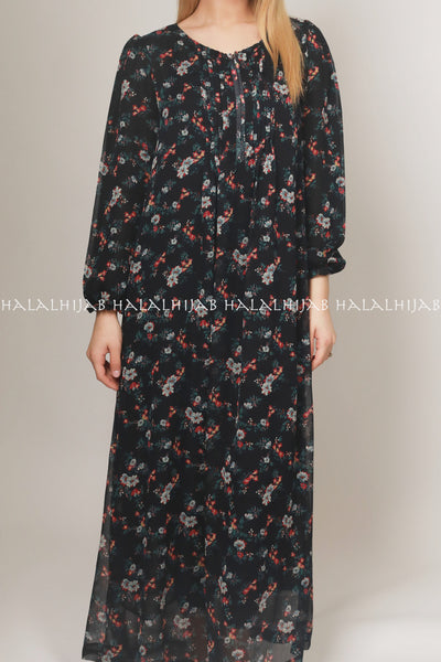 Black Red Floral Full Sleeve Long Dress