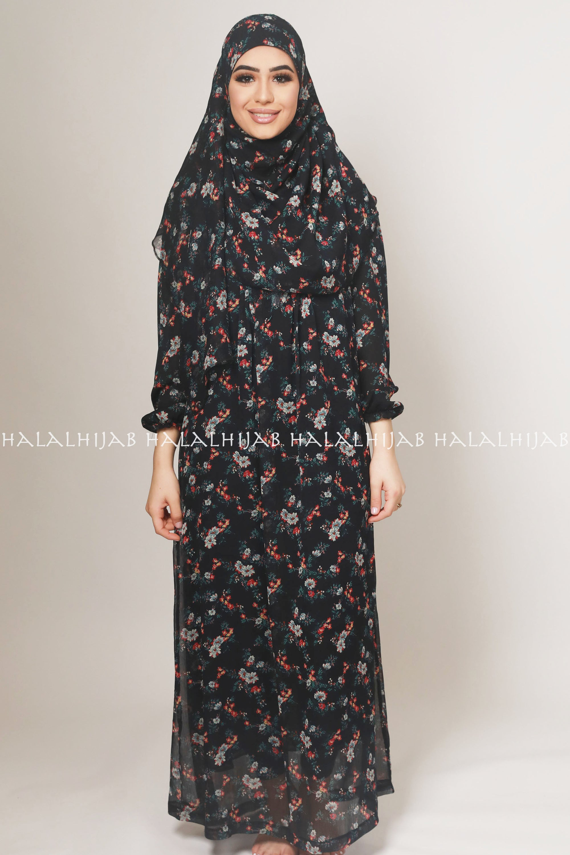Black Red Floral Modest Dress with Matching Hijab