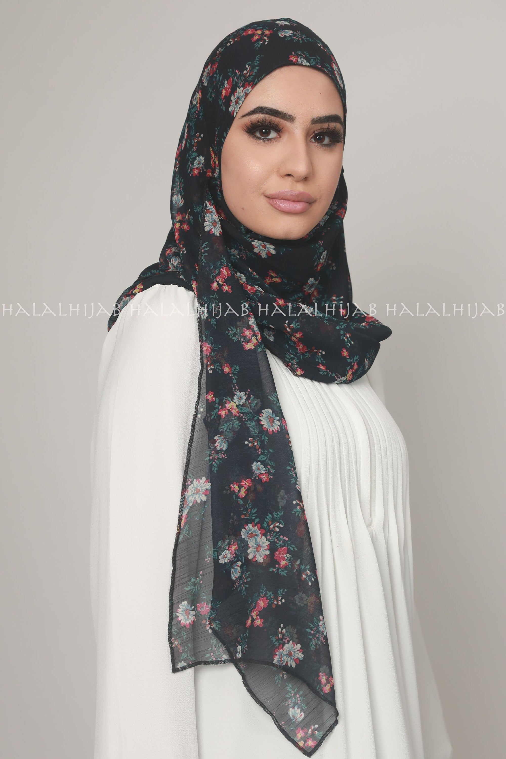 Black Red Floral Chiffon Inner-Free Pin-Free Multi Style Hijab