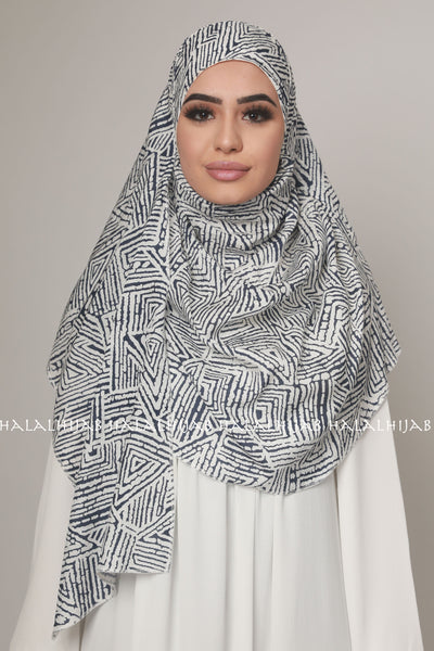 Black and White Geometric Print Instant Hijab