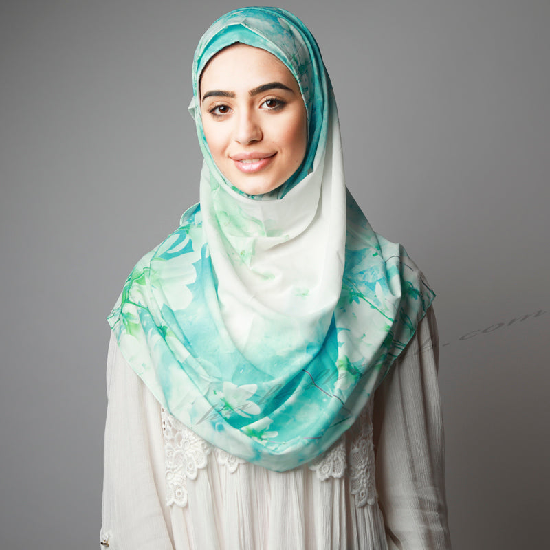 Blue Green Cherry Blossom Print Luxurious Instant Hijab