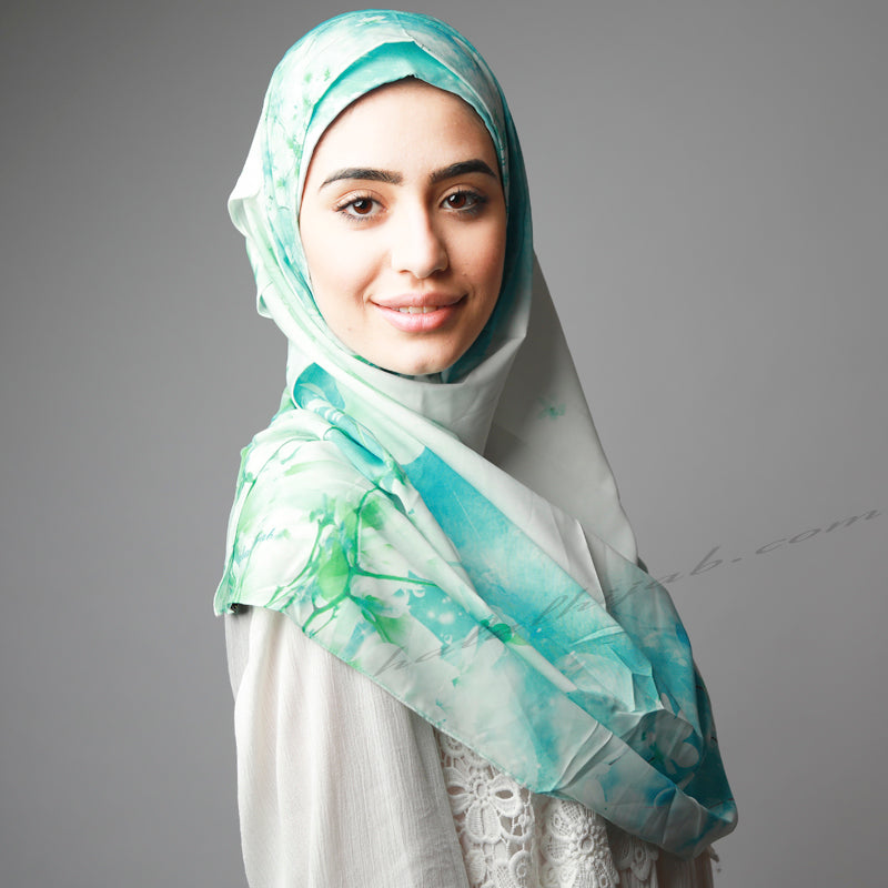 HIjab Australia,HIjab Women, Hijab House, Hijab style, Hijab fashion, How to wear Hijab? Haute, Blue green Cherry Blossom print instant Hijab