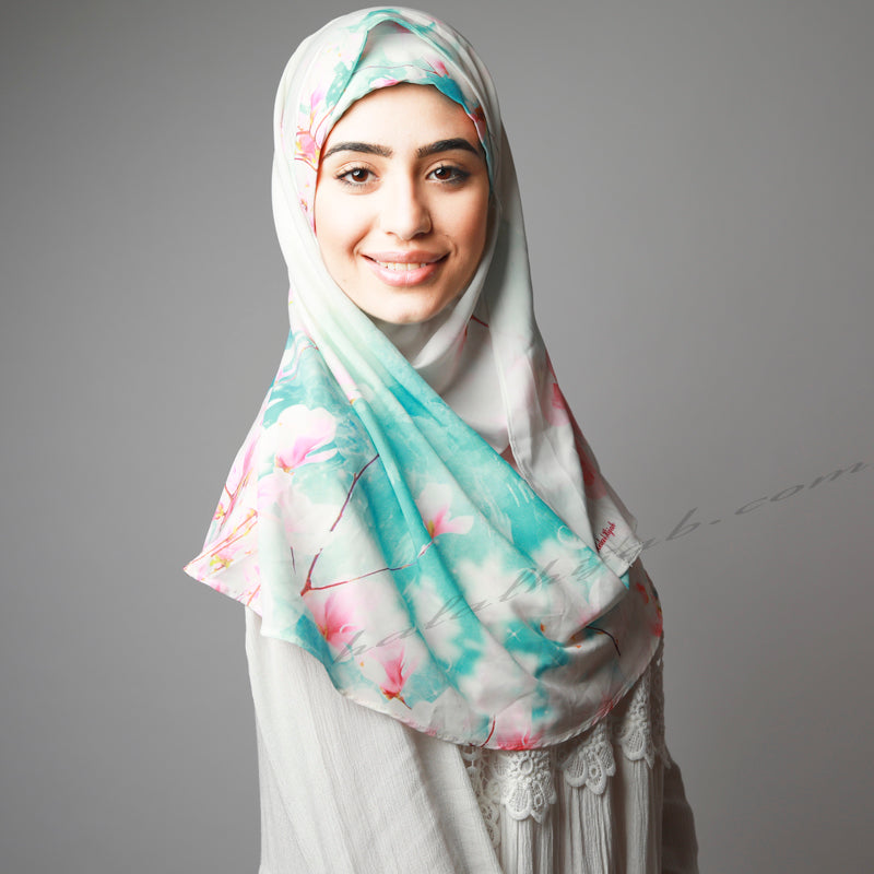 Blue Pink Cherry Blossom Printed Luxurious Instant Hijab