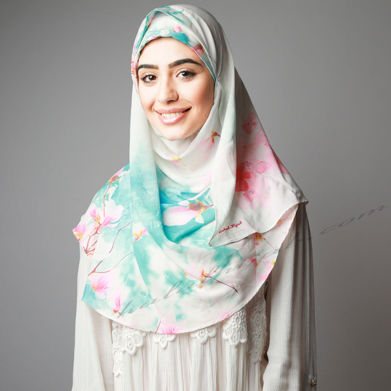 Hijab Women, Hijab House,Blue pink Cherry Blossom  Hijab, Hijab online  Australia,Hijab style, Hijab fashion, How to wear Hijab? Haute