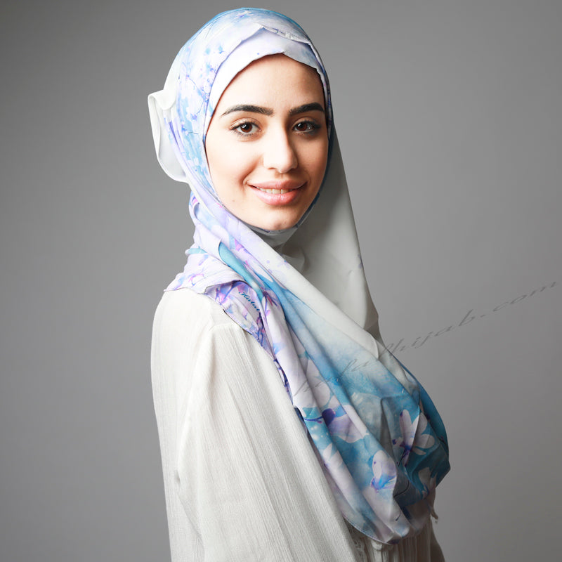 Blue Purple Floral Print Luxurious Instant Hijab