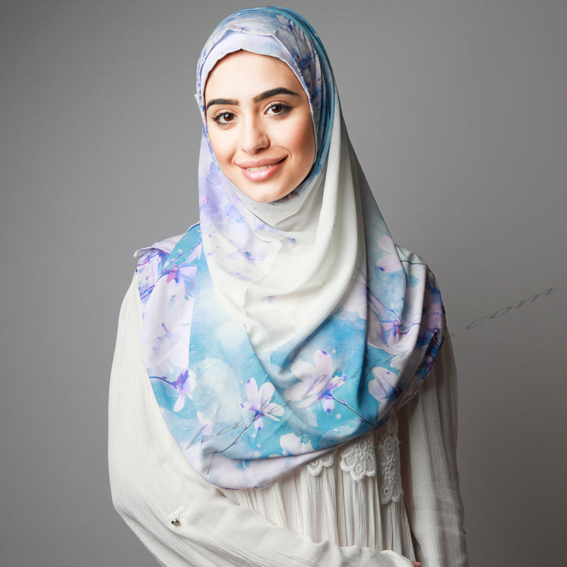 Hijab Women, Hijab House,Blue purple floral instant print Hijab, Hijab online  Australia,Hijab style, Hijab fashion, How to wear Hijab? Haute