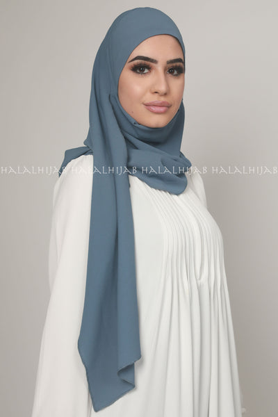 Denim Blue Best Quality Georgette Instant Hijab