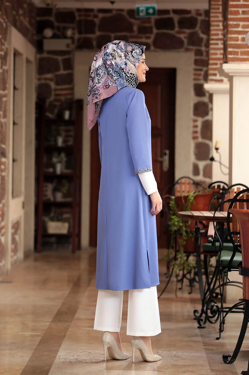 Three Pieces Sky Blue and White Modest Comfy Suit Pants