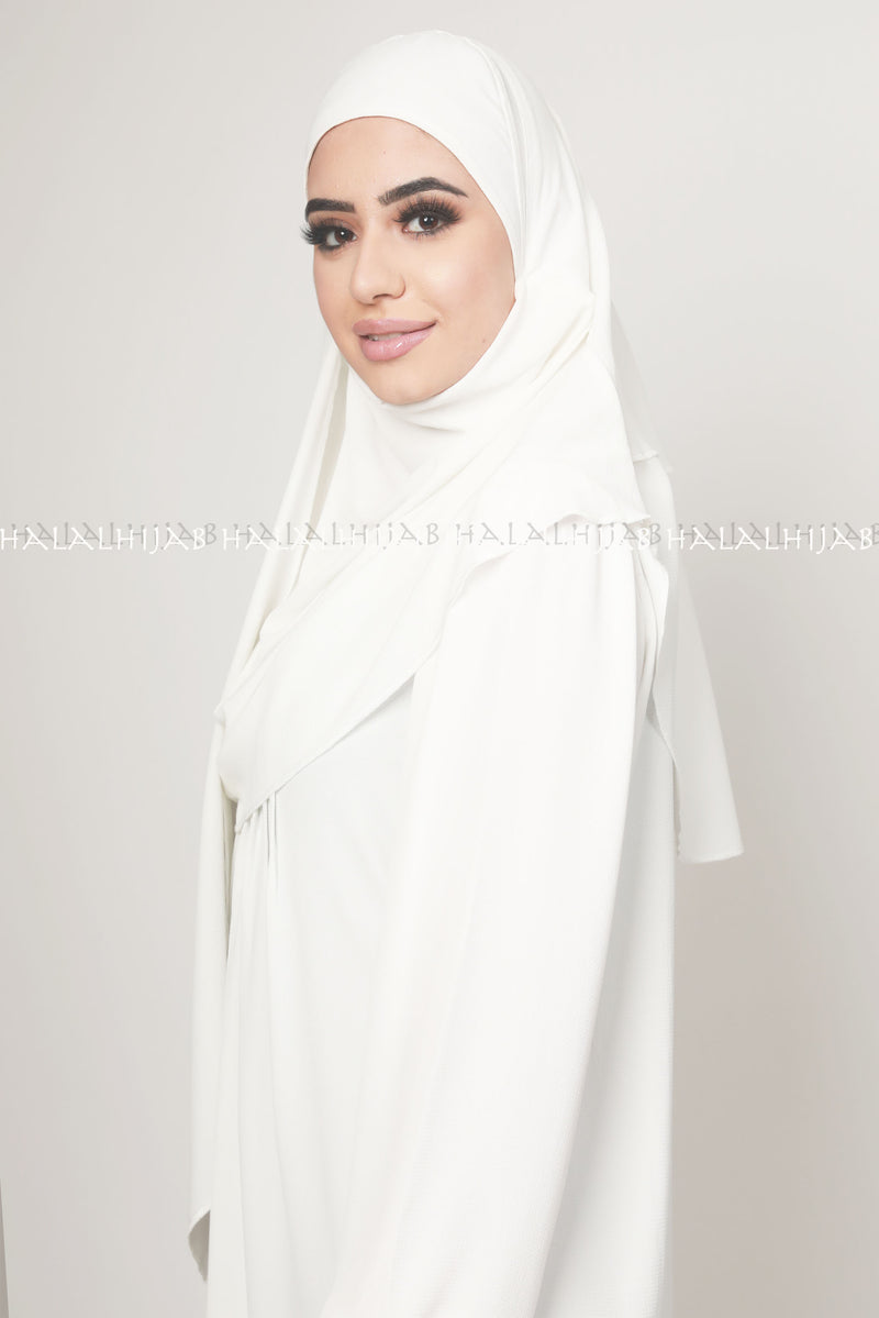 White Chiffon Georgette Instant Pin-Free Multi Style Hijab
