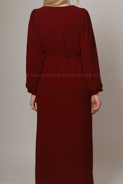 Maroon Red Long Sleeve Modest Dress