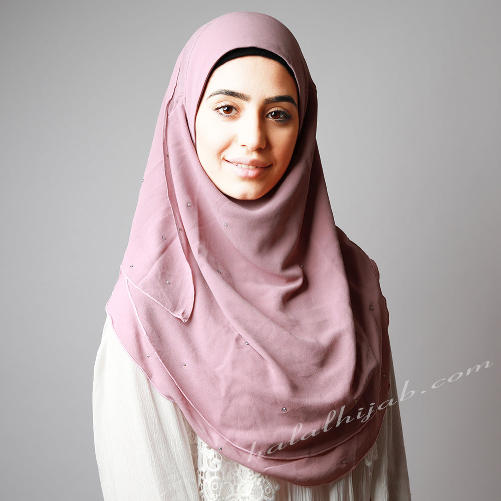 Dusty Light Pink Chiffon Crystallised Instant Hijab