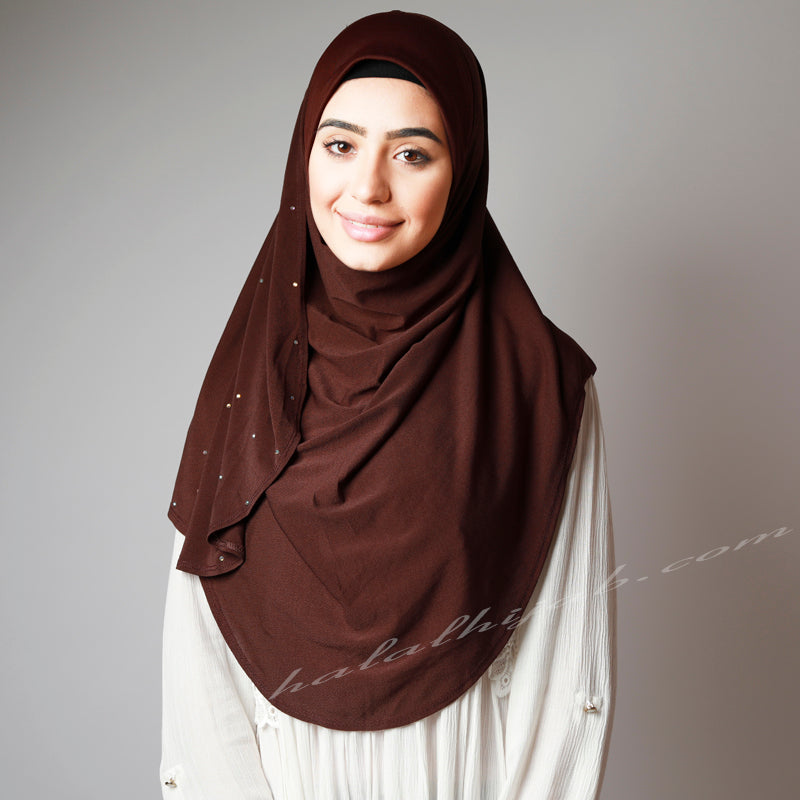Dark Chocolate Sequinned Dotted Party Hijab