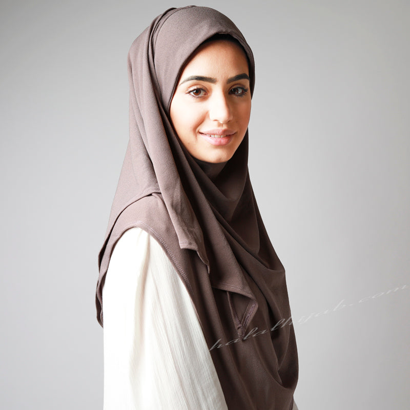 Sandalwood Taupe Coffee Stretchy Instant Plain Hijab