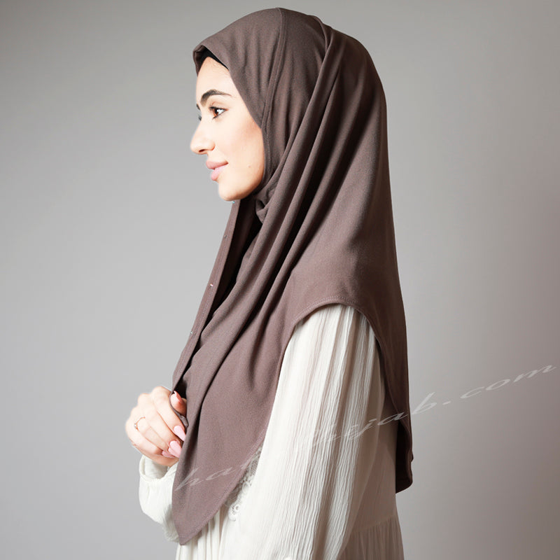 Sandalwood Taupe Coffee Crystal Dotted Stretchy Party Hijab