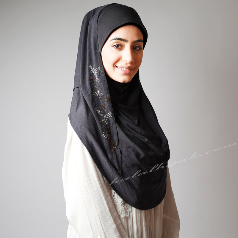 Washed Black Dark Ash Grey Sequinned Party Hijab