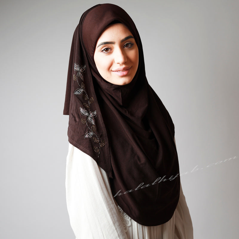 Dark Chocolate golden silver Floral Hijab, Hijab online  Australia,Hijab style, Hijab fashion, How to wear Hijab? Haute,Hijab Women,  Halal Hijab House, Hijab