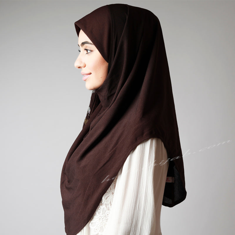 Dark Chocolate Golden Silver Floral Sequinned Hijab