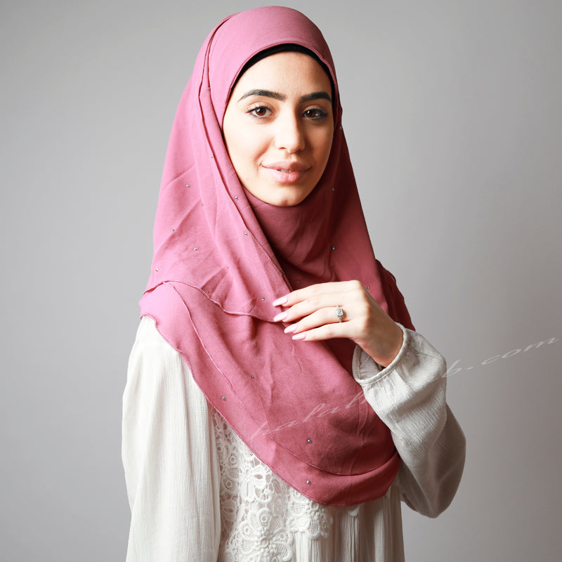 Dark Dusty Pink Chiffon Crystallised Instant Hijab