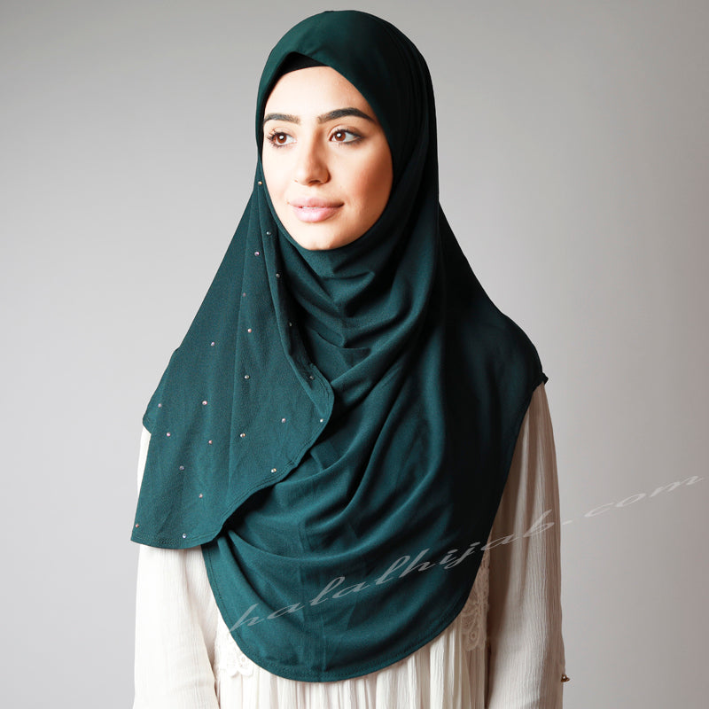 Dark Bottle Green Crystallised Stretchy Party Hijab