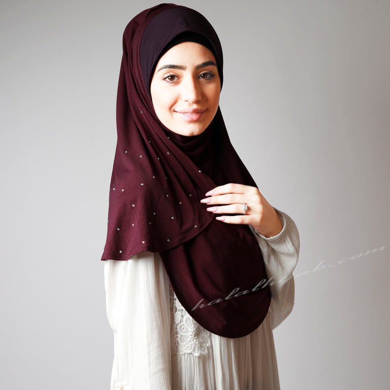 Dark Grape Purple Crystal Dotted Instant Party Hijab