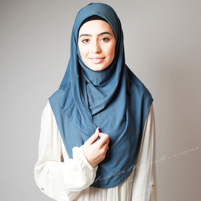 Denim Blue Crystal Dotted Stretchy Party Hijab