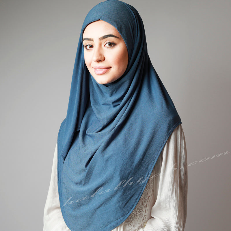 Denim Blue Pin-Free Stretchy Instant Plain Hijab