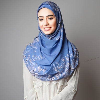 Hijab Women,  Halal Hijab House,Blue print bright gorgeous Hijab, Hijab Australia,Hijab style, Hijab fashion, How to wear Hijab? Haute