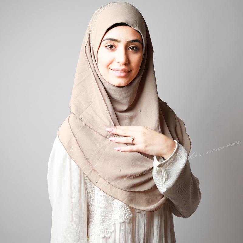 Dusty Beige Chiffon Crystallised Instant Pinless Hijab