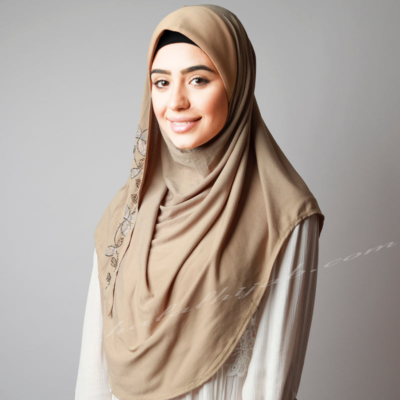 Dusty Beige Golden Silver Floral Sequinned Party Hijab
