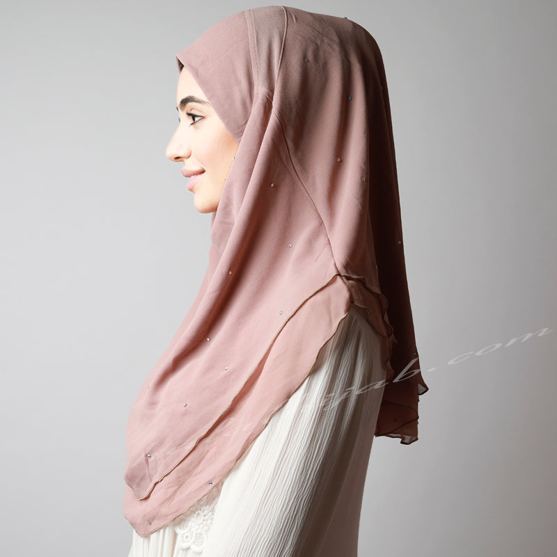 Dusty Rose Gold Chiffon Crystallised Instant Hijab